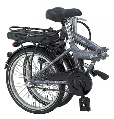 Slik ser DCTs sammenleggbare el-sykkel ut når den er klappet sammen. Foto: DCT.