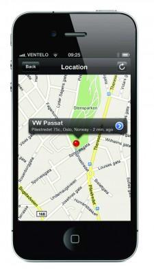 Med GPS Link kan bileieren til enhver tid se hvor bilen befinner seg på kart på sin iPhone eller Android telefon.