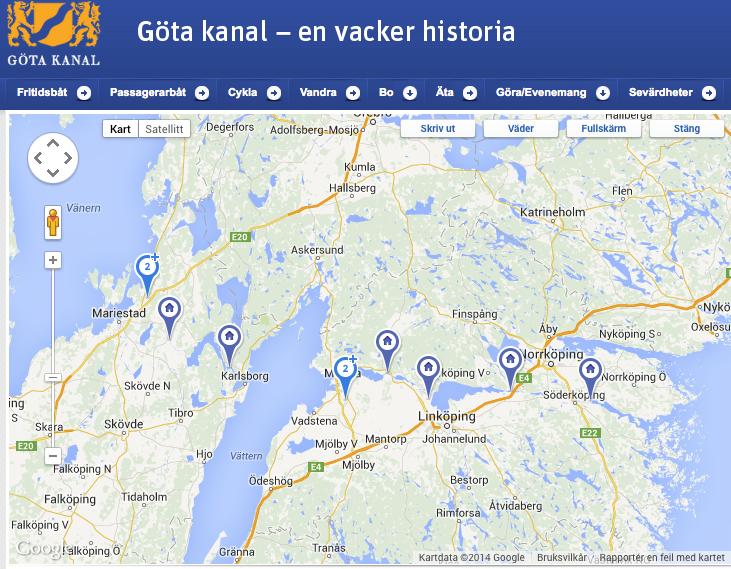 Faksimile av Gøta kanals hjemmeside. Overnattingsstedene er markert.
