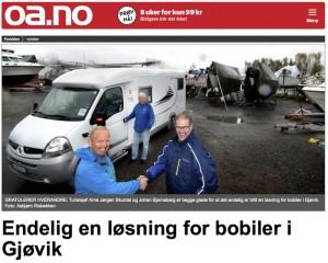 I juni får Gjøvik en offisiell bobilparkering. Faksimile av oa.no.