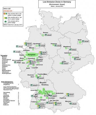 Dette er de tyske miljøsonene ved inngangen til 2014.
