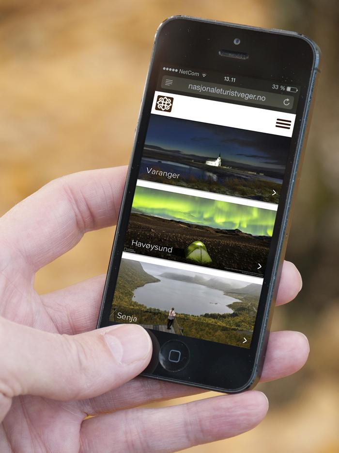 De nye sidene er også tilpasset mobilbruk. Foto: Nasjonale turistveger.