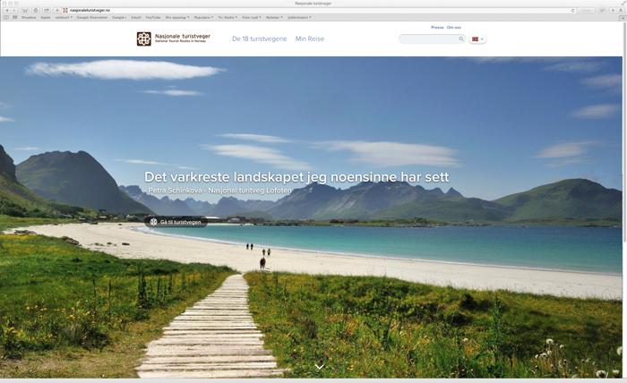 Forsiden på Nasjonale turistvegers nye hjemmeside.