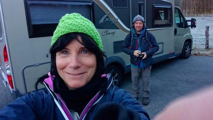 Janne Varne og Frank Olsen skal reise et år i denne Bürstner Ixeo it 700. Foto: Privat.
