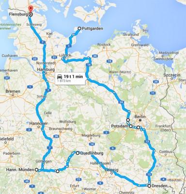 Vårt forslag har i følge Google en effektiv kjøretid på 19 timer og er 1873 km lang.
