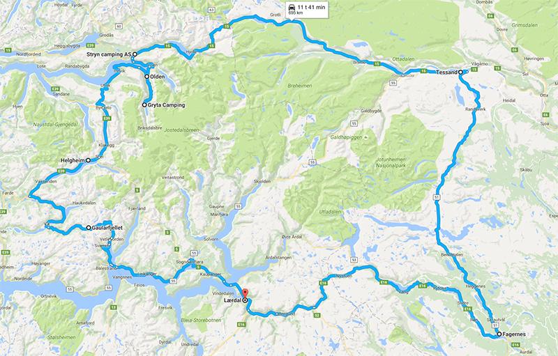 """En rundtur i fjellheimen. Tre """"Nasjonale turistveger"""", men hele turen en stor naturopplevelse. Klikk på bildet for kart i Google."""