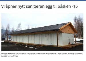Lillehammer camping investerte i nytt servicebygg og ny infrastruktur. Faksimile av hjemmeside.